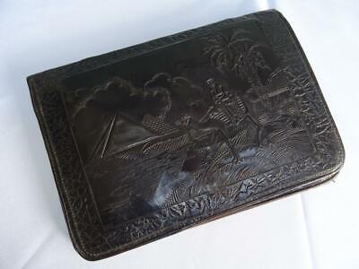 1920s Style Purses, Flapper Bags, Handbags Vintage Clutch Purse Egyptian Revival 1920s Art Deco Bag Brown Embossed Leather $96.39 AT vintagedancer.com