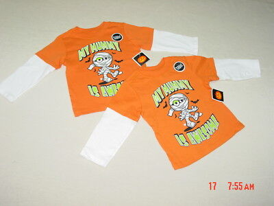 2 NWT Toddler Boys Orange Shirts Halloween My Mummy is Awesome Costume top (Awesome Toddler Costumes)