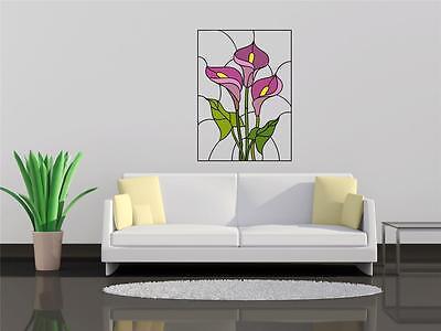 Wall Art Vinyl Decal Transfer Sticker Iris Lilly Daffodil Stained Glass Window