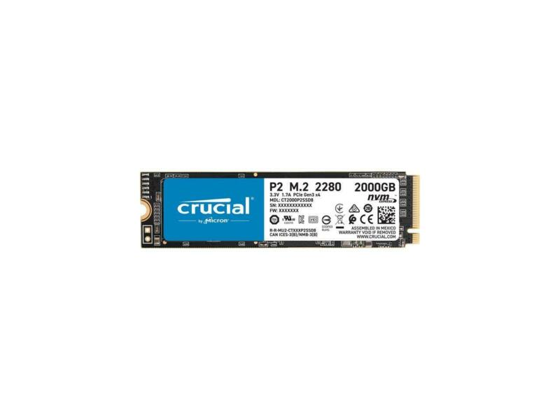 Crucial P2 2TB 3D NAND NVMe PCIe M.2 SSD Up to 2400 MB/s - CT2000P2SSD8