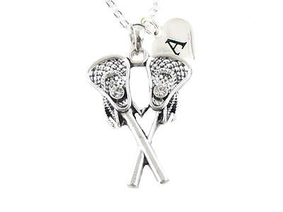 Custom Crystal Lacrosse Sticks Silver Chain Necklace Choose Initial Charm All 26 - Custom Necklace Charms