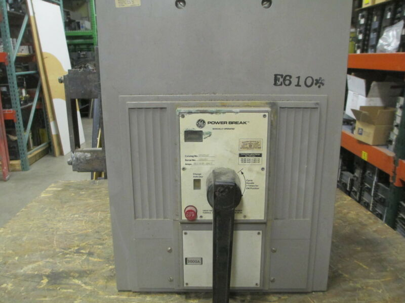 Ge Powerbreak Tps203f 2000a 3p 600v Mo/fixed Mount Circuit Breaker Used E-ok