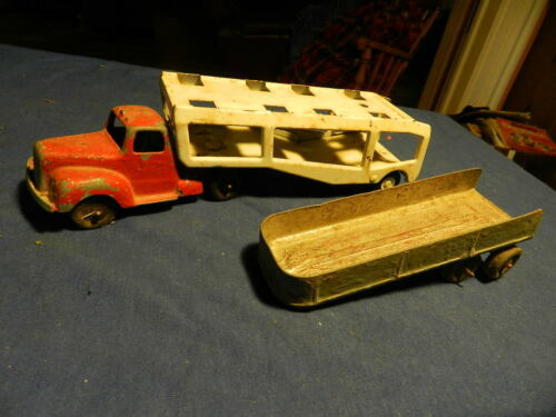 TOOTSIETOY DIESEL CAB & TRAILER PLUS CAR CARRYING TRAILER