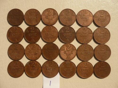 Lot of 24 Norway Coins - 2 Ore - Lot 1