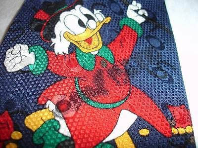 Disney Carl Barks HAND SIGNED Uncle Scrooge #1 Dime Neck Tie Italy Silk Blue NEW