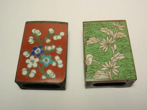 Lot 2 Vtg Cloisonne & Brass Match Box Holder China: Cherry Blossom Flower *As-Is