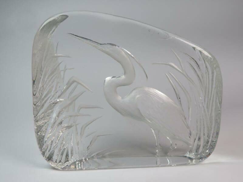 SOLID ART GLASS Sculpted Paperweight HERON Mats Jonasson Sweden SIGNED 3266