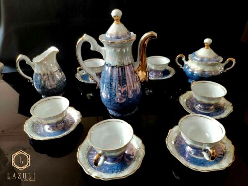 Porcelain tea set, antique, with gold painting, 15 pieces.