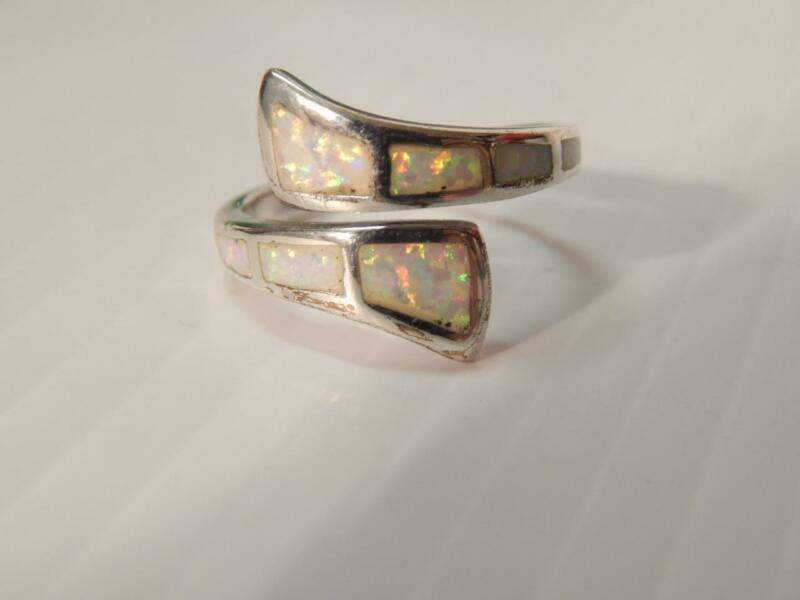 VINTAGE MEXICAN SOUTHWESTERN STERLING SILVER OPAL INLAY RING - SZ 8 1/4 A+GIFT !