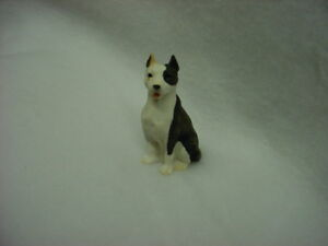 PITBULL puppy TiNY DOG resin Figurine HAND PAINTED MINIATURE PIT BULL Brindle