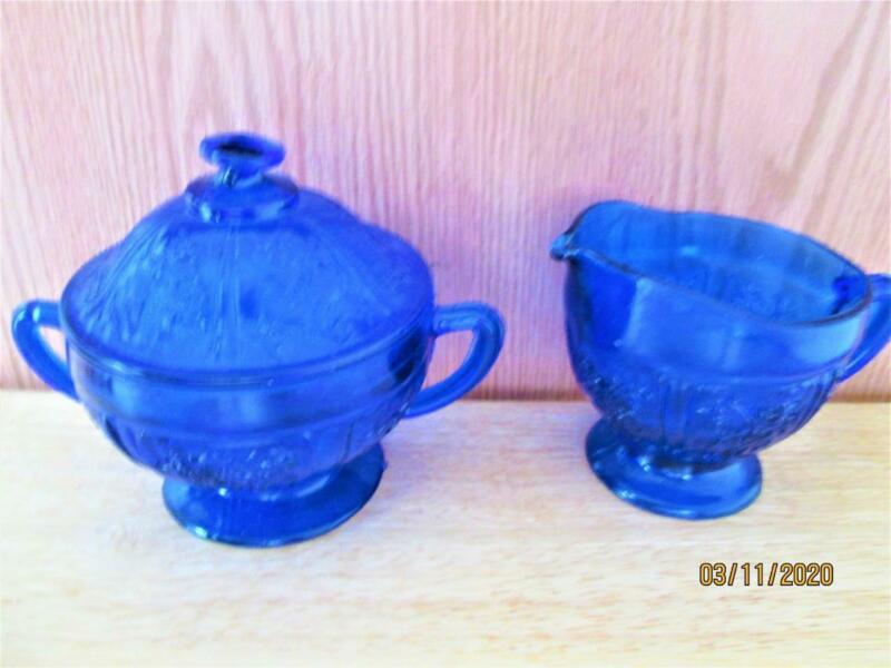 VINTAGE COBALT BLUE ROSE PATTERN CREAMER & SUGAR BOWL WITH LID