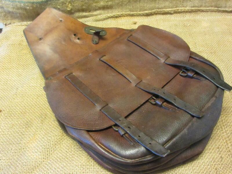 Vintage 1917 US Leather Saddle Bags Satchel Near Mint > Antique Horse 10234