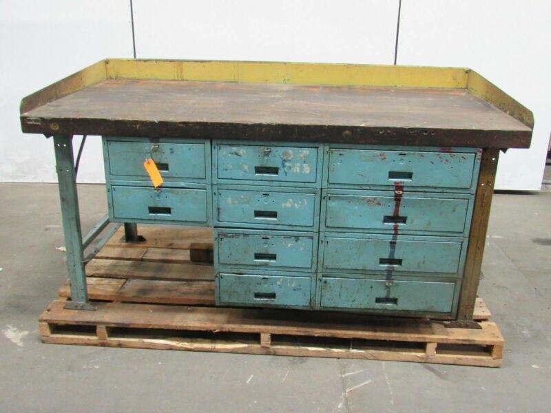 "Vintage Work Bench 72"" L x 36"" D x 34"" H 2-1/2""  Wood Top W/10 Drawers Steampunk"