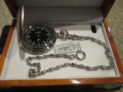 Colibri Silver Swiss Pocket Watch & Chain Gift Set Chain Set Pocket Watch