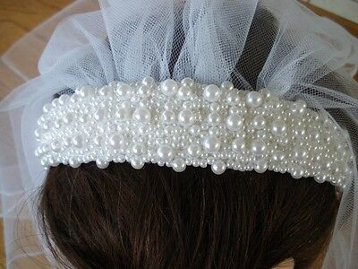 First Communion/ Flower Girl White Pearl Headband with Sewn Edged Veil  NEW