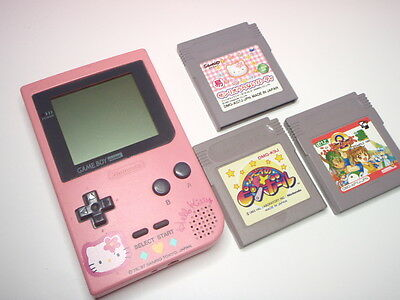 Used Gameboy Pocket Console Hello Kitty color & 3games SET GBP GB from Japan