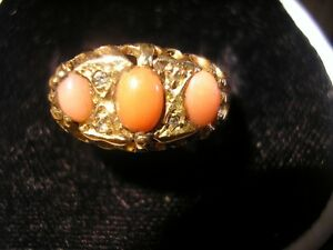 Beautiful-Edwardian-18ct-Gold-Coral-Diamond-Ring-1915