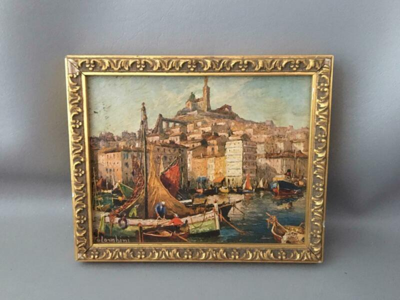 VTG FRENCH MARSEILLE PROVENCE MEDITERRANEAN FISH BOAT HARBOR OIL PAINTING SIGNED