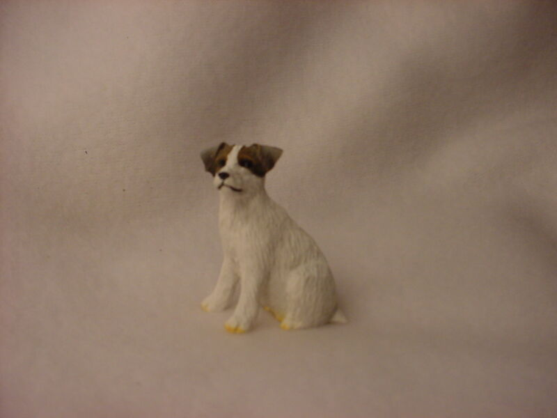 JACK RUSSELL brown & white rough dog HAND PAINTED FIGURINE MINIATURE small mini
