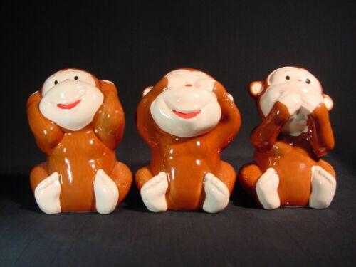 Hear See Speak No Evil Wise Monkeys Trio Ceramic Too Cute & Adorable