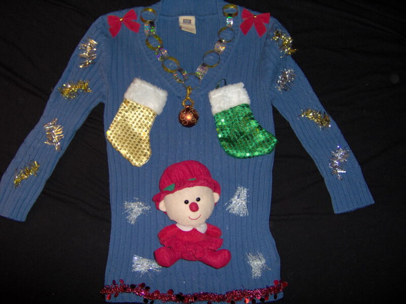 Ugly Christmas Sweater Blue sz M Elf