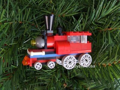 Christmas Holiday Train / Tree Ornament / Built w/ NEW Lego Bricks Parts