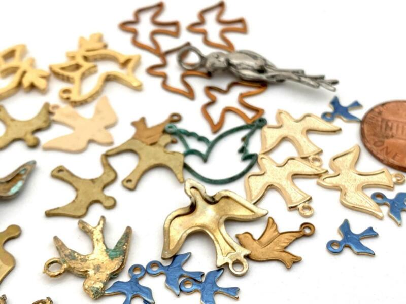 Vintage Mixed Metal Bird Charms Findings Mix 30