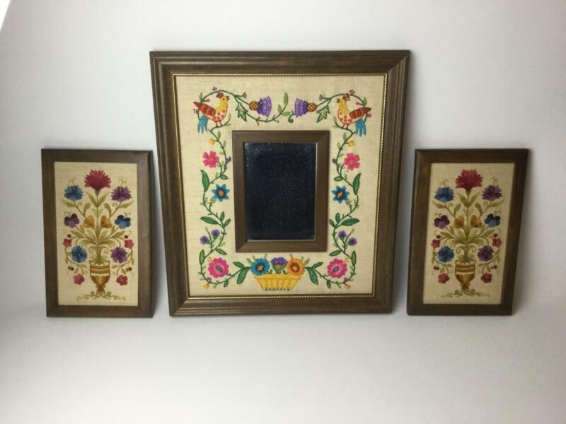 Vintage Framed Hand Embroidery Floral Picture w/ Mirror 3 piece Set