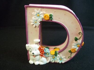 Mary Engelbreit resin Letter D puppy dog dragonfly flowers cherries purple - Mary Engelbreit Puppy