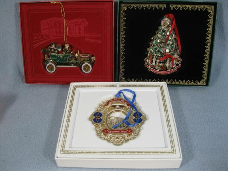 LOT OF 3 WHITE HOUSE HISTORICAL ASSOCIATION CHRISTMAS ORNAMENT 2006 2008 2012