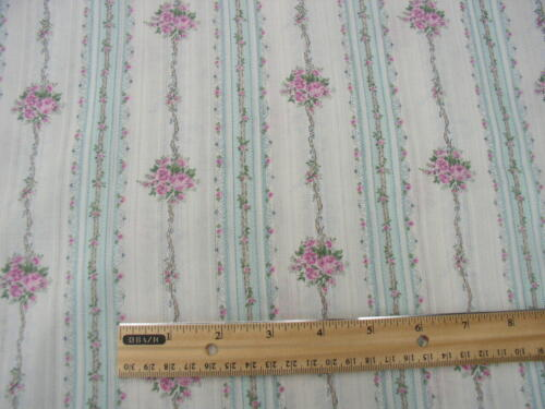 Yuwa Gorgeous Pink Bouquets and Ribbons on Ivory/AQUA  Dobby Silky Cotton Fabric