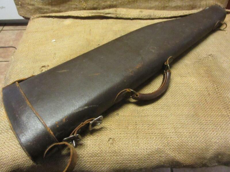 Vintage Red Head Brand Hard Leather & Brass Rifle Case > Antique Gun 10111