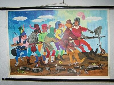 Antique Large W Germany Wall Chart the Seven Swabia by School Haase, Bad