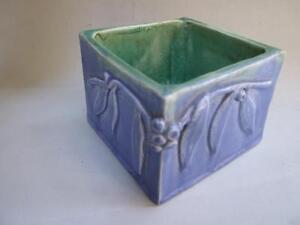 Australian Pottery Harvey School Blue Vase /Bowl Gumnuts Signed C.1930's