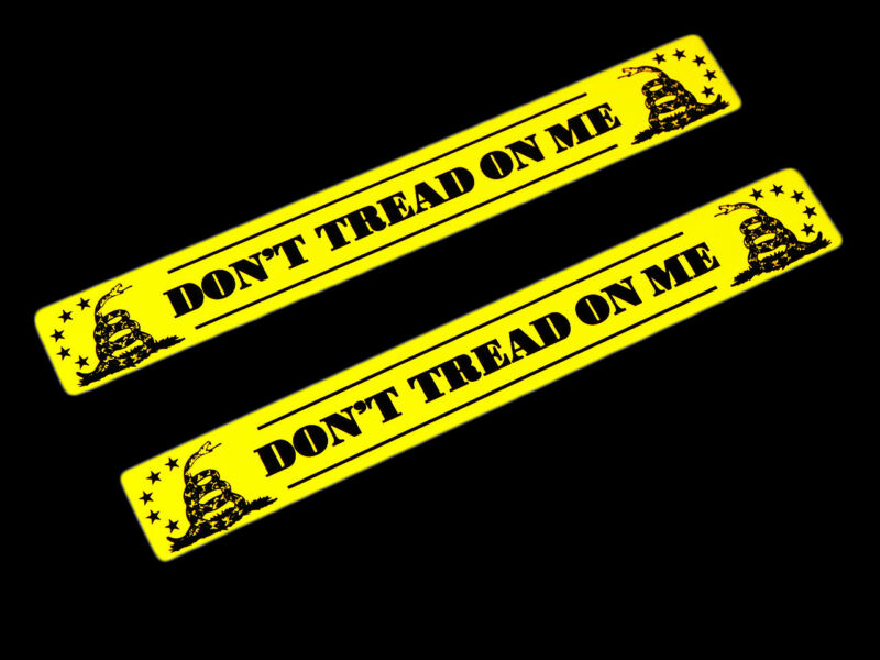 2 DONT TREAD ON ME GADSDEN PATRIOT YELLOW FLAG THIN ALUMINUM EMBLEMS BADGES PAIR