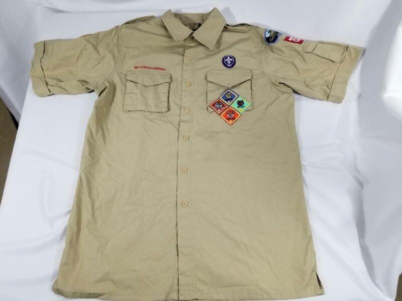 Boy Scout BSA Mens Medium Short Sleeve Uniform Shirt With Patches Tan Khaki