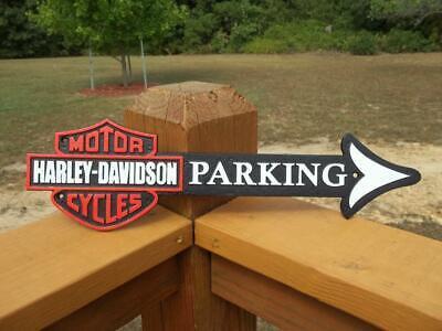 CAST IRON HARLEY DAVIDSON MOTORCYCLES PARKING ARROW WALL SIGN MAN CAVE GARAGE