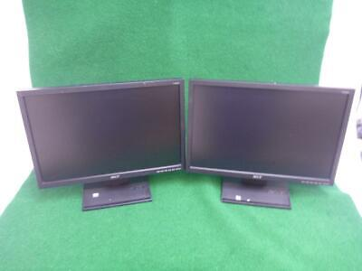 "Lot of 2 Acer V193W 1440x900 Widescreen LCD Monitors 19"" Stand, Power,VGA Cables"