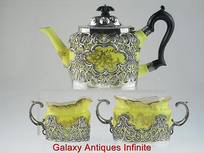Rare Antique Solid Silver Porcelain Tea Set 1899 London By William Comyns