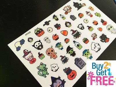 PP332 -- Kawaii Halloween Icons Planner Stickers for Erin Condren (47pcs) - Pp Halloween