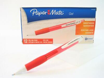 Paper Mate Roller Ball Gel Pens Red Ink Med 0.7mm Point One Dozen 1746326