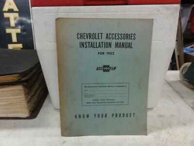 Vintage 1952 Chevrolet Accessory Installation Parts Book Manual Accessories