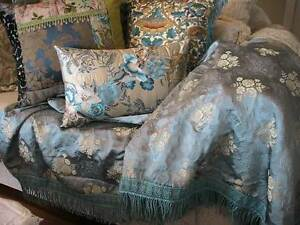 STUNNING DUCK EGG BLUE GOLD VINTAGE ITALIAN BROCADE BEDSPREAD Austral Liverpool Area Preview