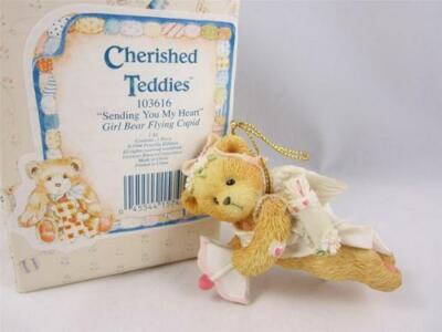 1994 Cherished Teddies Sending You My Heart Valentine Girl Cupid Figurine 103616
