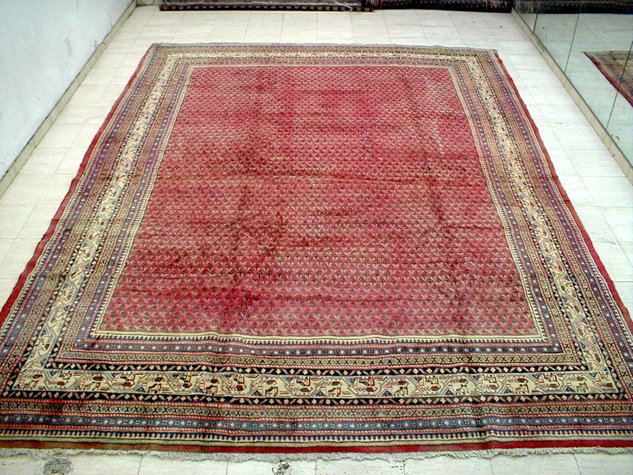9X13 1940's MAGNIFICENT HAND KNOTTED 70+YRS ANTQ KORK WOOL SAROUK PERSIAN RUG