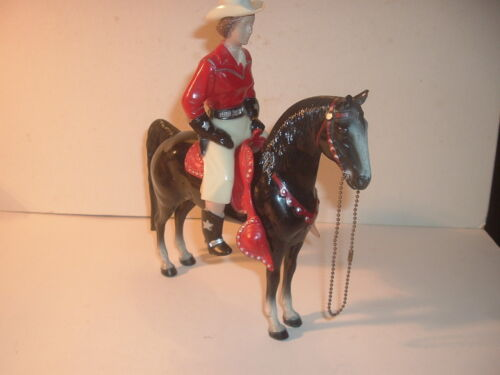 1950s Red / White Western Champ Lady Hartland Statue and Horse 800 Series