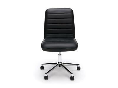 Armless Office Task Chair Mid-back Adjustable Height Swivel Bonded Leather Black