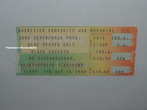 B.O.C. / BLACK SABBATH 1980 Concert Ticket Stub ROCHESTER WAR MEMORIAL Rare DIO