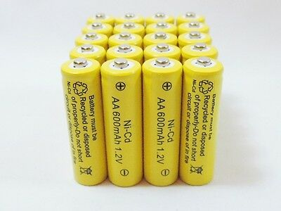 20 AA Rechargeable Batteries NiCd 600mAh 1.2v Garden Solar N