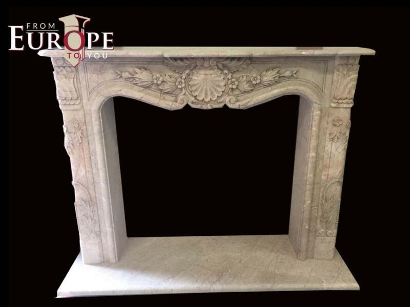 BEAUTIFUL FRENCH STYLE ESTATE HAND CARVED MARBLE FIREPLACE MANTEL - JD150
